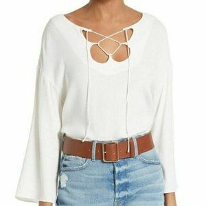 NEW FRAME Denim Mirrored Lace Up Tie Front Blouse